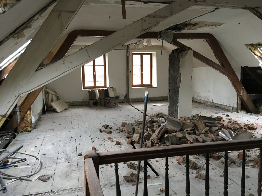 Soon to be our living room, office and kitchen