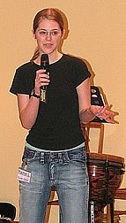 Rachel giving 'Unity' talk at Bible club evening