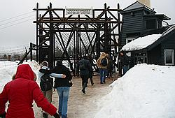 Entering the camp gates