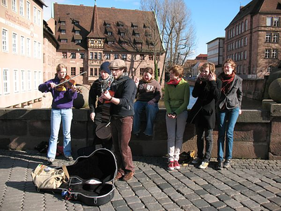 Busking in Nuremburg during her high school retreat