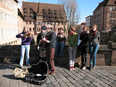 Busking in Nuremburg during her high school retreat